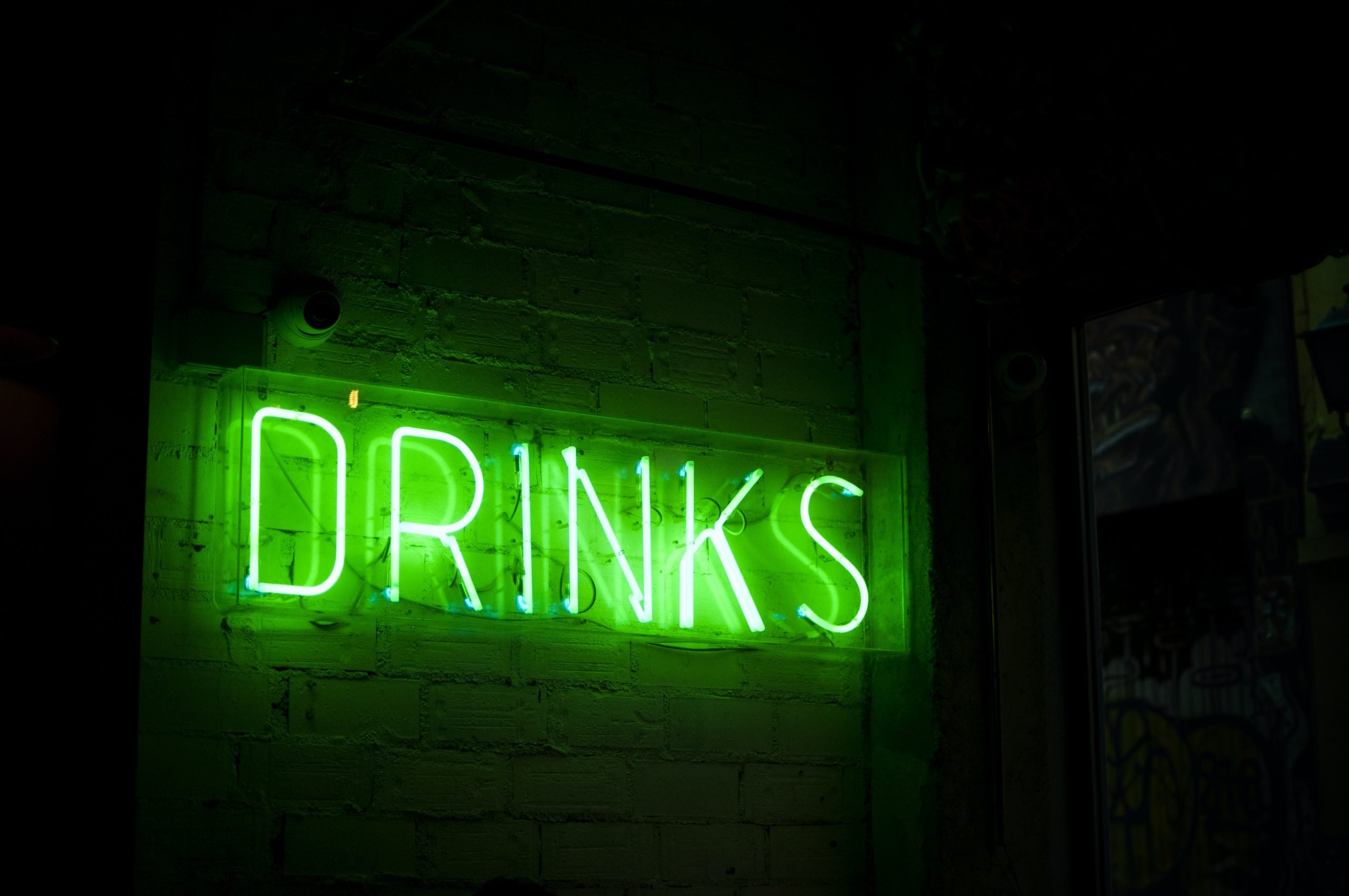 green drinks neon signage